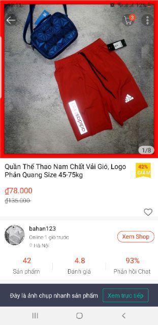Đánh giá sản phẩm Quần Thể Thao Nam Chất Vải Gió, Logo Phản Quang Size 45-75kg của buu4455
