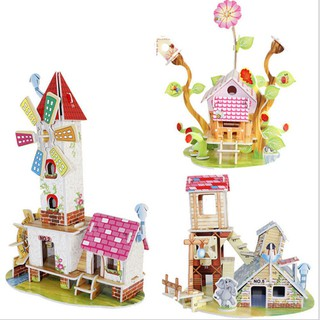 3D DIY Puzzle Jigsaw Baby Toy Construction Gift For Children Houses Puzzle Xmas