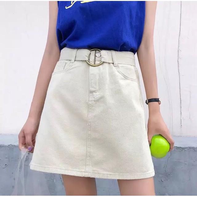 [Hàng order QC] Chân váy ngắn chân váy chữ A dây đai - [rẻ