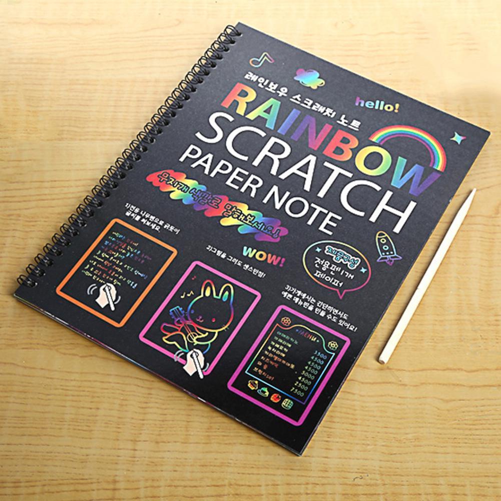 Stationery Notebook Black Page DIY Magic Kids Cute Painting Drawing Notepad Graffiti