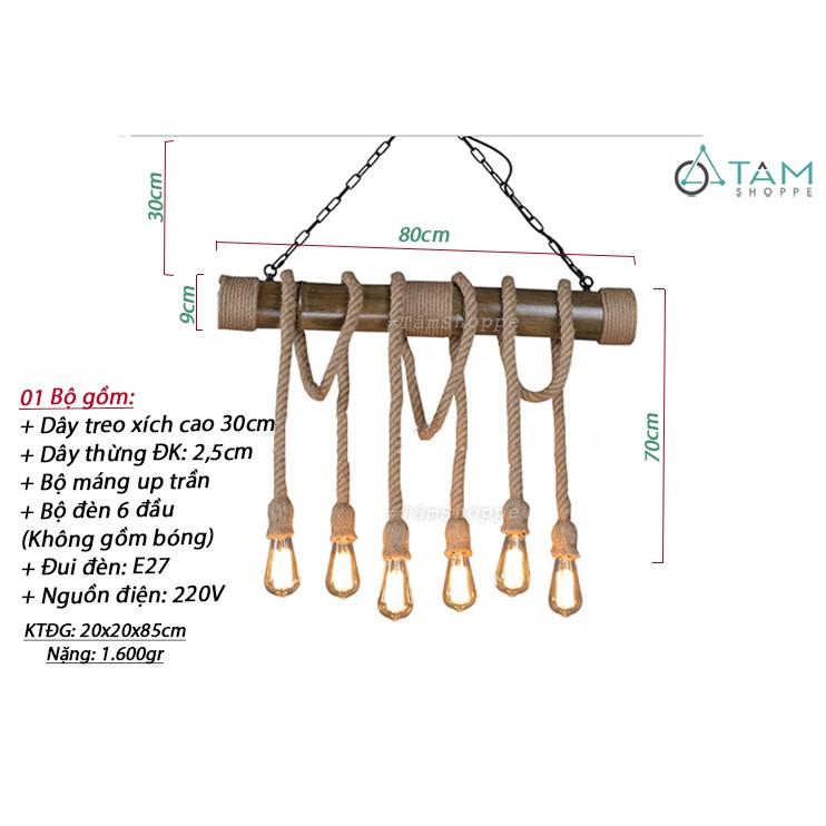 [CAO CẤP - KÈM ÚP TRẦN] Đèn thả trần dây thừng khúc gỗ tre thòng 6 dây FE-ĐTTDT-08