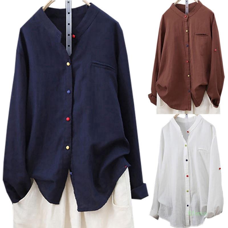 Áo sơ mi kiểu phối nút nhiều màu chất liệu cotton thời trang cho nữ - 13714646 , 1862587417 , 322_1862587417 , 243737 , Ao-so-mi-kieu-phoi-nut-nhieu-mau-chat-lieu-cotton-thoi-trang-cho-nu-322_1862587417 , shopee.vn , Áo sơ mi kiểu phối nút nhiều màu chất liệu cotton thời trang cho nữ