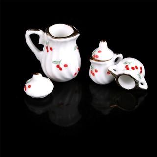 KJ♠ 3pcs/set Dollhouse Miniatures Mini Ceramics Teapot Teacup Kitchen Toy