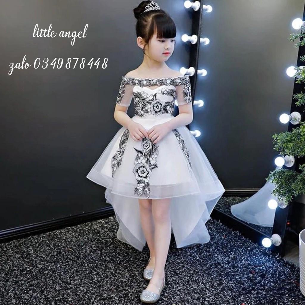 đầm công chúa bé gái trắng đuôi ren thêu cao cấp 9 đến 40kg