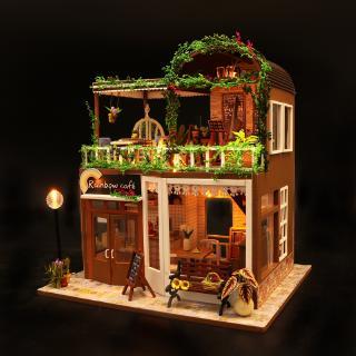 mô hình gỗ DIY đồ chơi lắp ráp ,xinh xắn ,độ bèn cao _ngôi nhà búp bê hankmake mô hình rainrow cafe tặng đèn