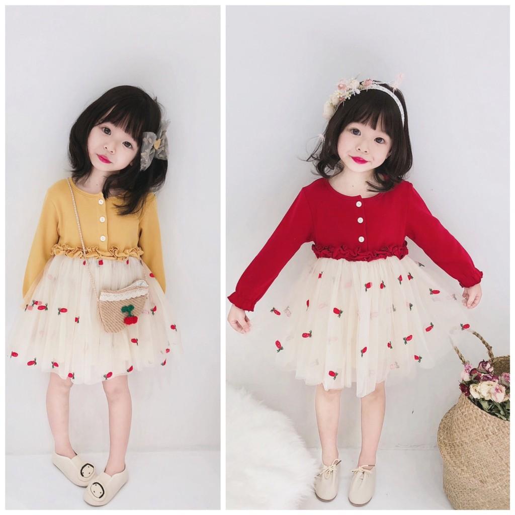 Váy xòe điệu đà kiểu dáng Hàn quốc cho bé gái (HN 389)