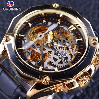 Đồng hồ cơ nam Forsining 1030 lộ máy dây da (Mặt đen viền vàng) thumbnail