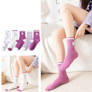 [sweet] woman cartoon bear purple long tube socks autumn and winter wild cotton sports  socks