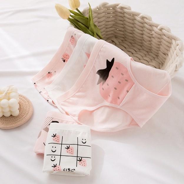 [CHE TÊN 100%] Set 5 Chiếc Quần Lót Nữ Cute Quần Chíp Dâu Nhật Chất Cotton Quảng Châu Cao Cấp Sexy Xịn Đẹp Lamodu Shop