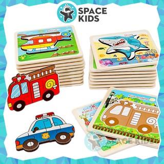 Đồ chơi trí tuệ Bảng gỗ ghép hình 3D cho trẻ em SK02 (có hình nền) – Space Kids