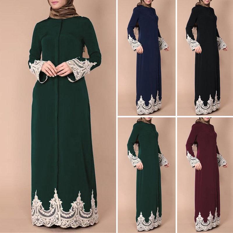 Áo choàng dài phối viền ren phong cách Hồi giáo