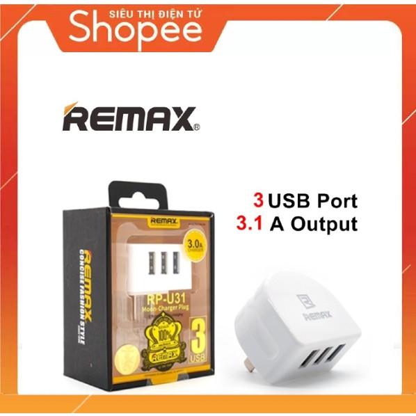 [Loại Tốt] Củ sạc 3 cổng USB Remax RP-U31