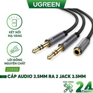 Dây Audio chuyển tai nghe 3.5mm sang 2 đầu Mic và Tai nghe dài 20CM UGREEN AV140