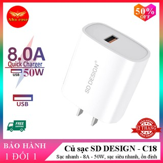 Củ sạc nhanh C18 chính hãng SD DESIGN sạc nhanh không hại máy dùng cho điện thoại iphone samsung, oppo Bảo hành 1 đổi 1 thumbnail