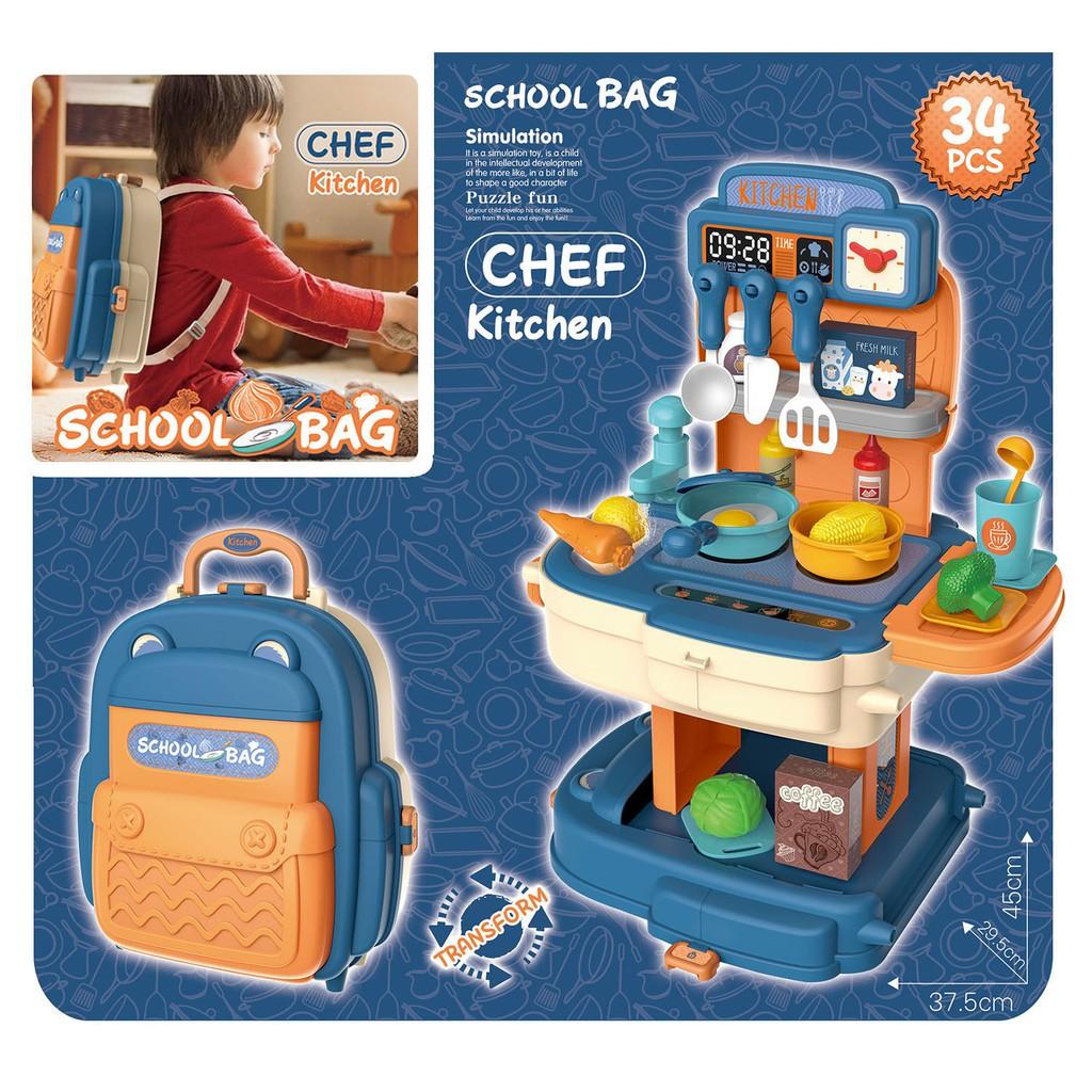 Đồ chơi BOWA 8787P - Cặp nhà bếp màu xanh 34 chi tiết, Không dùng pin