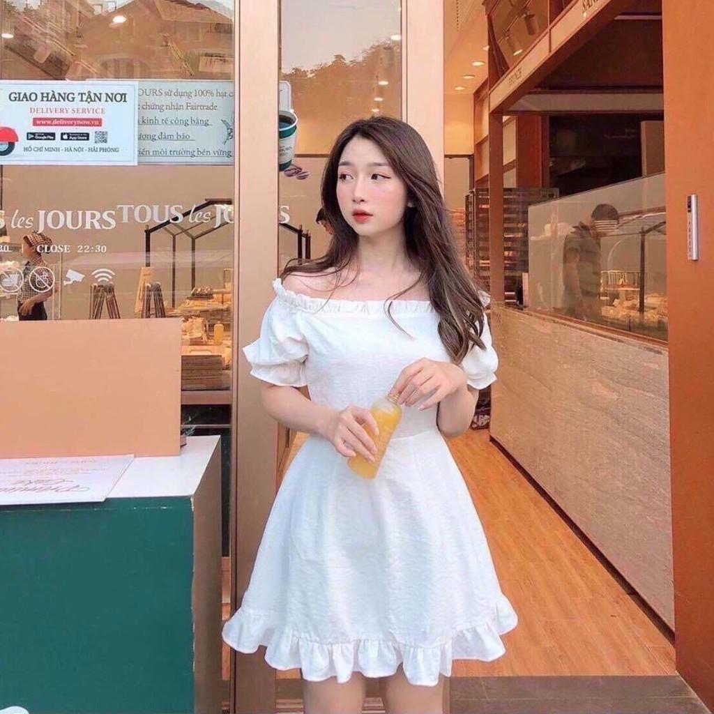 Váy Đầm Nữ Dáng Xòe Đồng Hồ Cát Màu Trắng Thời Trang
