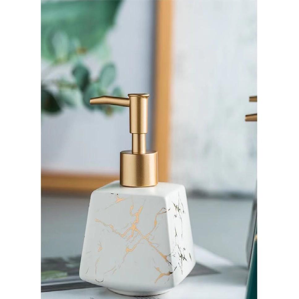 Bình chiết sứ đựng sữa tắm dầu gội xà phòng nước rửa tay vuông 260ml gốm cao cấp trong khách sạn