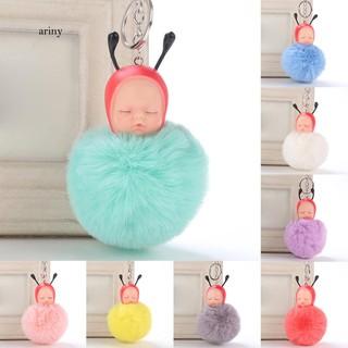 ★Cute Baby Bee Sleep Fluffy Ball Keychain Car Key Ring Pendant Handbag Bag Gift