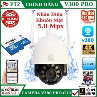 (TẶNG THẺ 64G), Camera - CAMERA WIFI V380 PRO NGOÀI TRỜI 5.0 Mpx PTZ C12 , theo dõi chuyển động , đàm thoại 2 chiều thumbnail