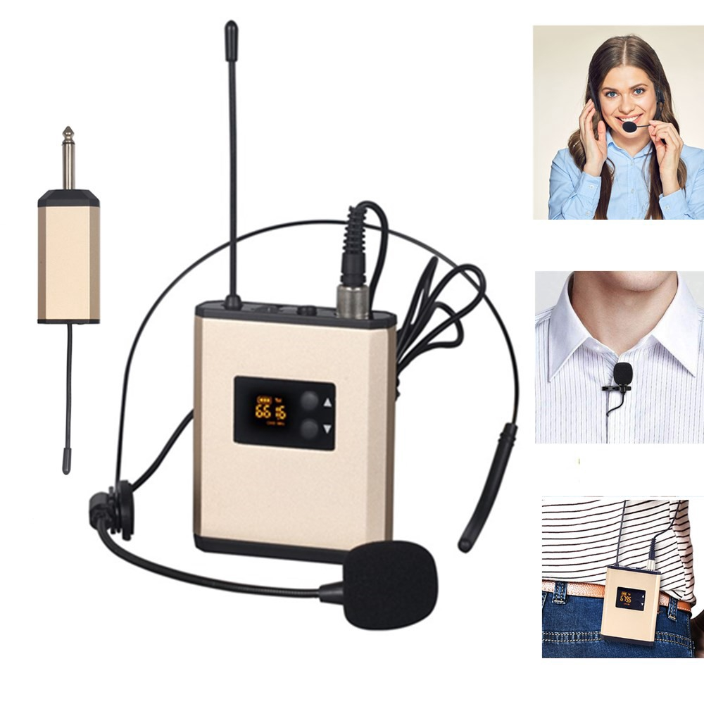UHF Wireless Headset /Lavalier Lapel Microphone System with Bodypack Transmitter