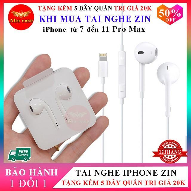 [Chính hãng + Free Ship] Tai Nghe iPhon 7, 7 Plus, 8, 8 Plus, X, Xr,  Xs max, 11, 11 pro, 11 pro max + Tặng 5 dây quấn