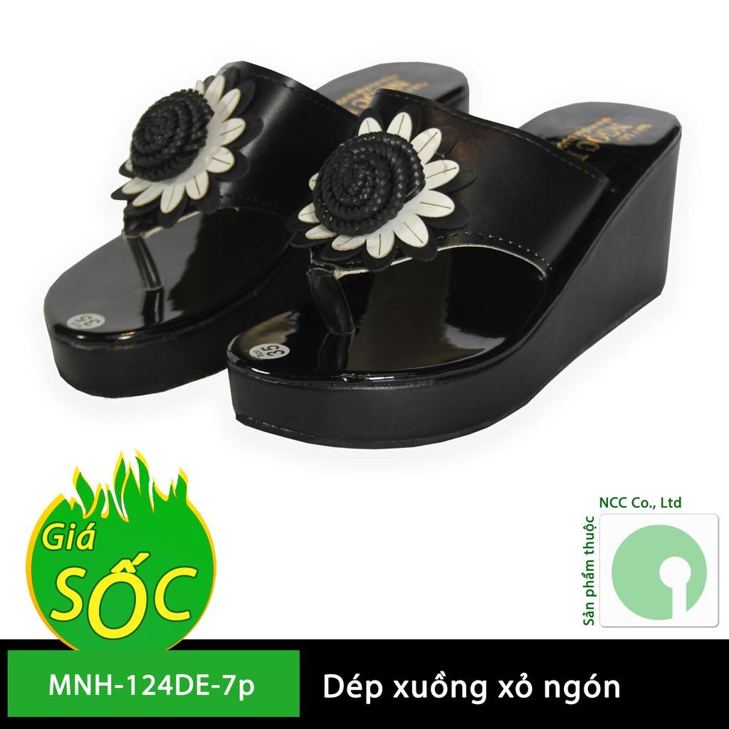 Giày dép nữ đế xuồng đẹp giá rẻ phiên bản hoa hướng dương - cao 7 phân cm - NMH-124DE-7p (Đen)