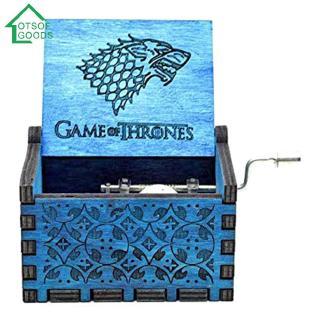 Retro Blue Wood Hand Cranked Music Box Child Xmas Gift Home Decor Ornament