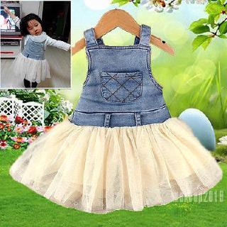 Mu♫-0-4Y Baby Girls Princess Summer Dress Clothes Kids Denim Jeans Tulle Dresses