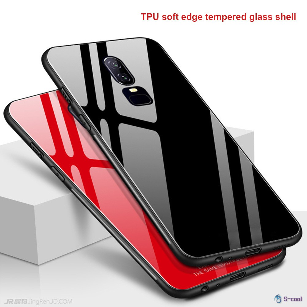 Full Cover Case Phone Protective TPU+Tempered Glass Shockproof Cases for OnePlus 6
