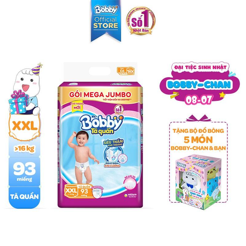 [Tặng 1 Bobby's Friend Box] Tã quần Bobby siêu thoáng bịch Mega Jumbo M120/L111/XL102/XXL93