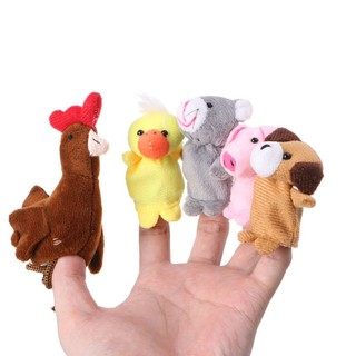 ✿INN✿ 5Pcs Animal Dolls Finger Puppets Set Plush Baby Story Telling Hand Cloth Doll Educational Toys