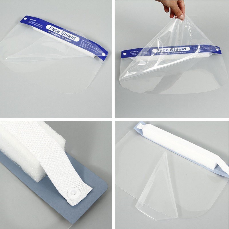 Kính chống giọt bắn, Kính chống dịch Face shield đệm mút xốp bảo vệ 3 chiều an toàn tiện lợi...