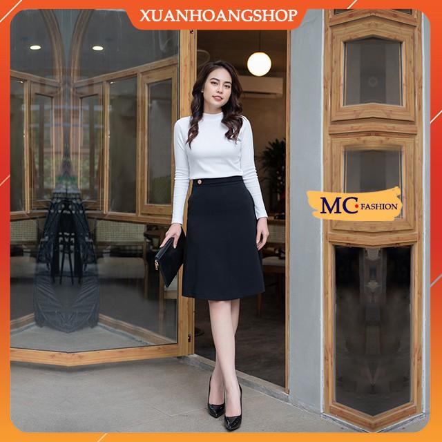 Chân Váy Chữ A Đẹp, Kiểu Nữ Công Sở, Lưng Cạp Cao, Vải Co Giãn Nhẹ, Dài Qua Gối, Màu Đen, Mc Fashion Cv0493