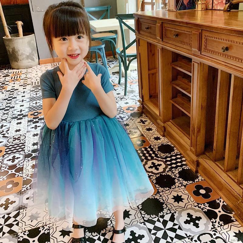 Đầm xòe công chúa màu xanh dương ngọt ngào xinh xắn dành cho bé gái từ 1-7 tuổi