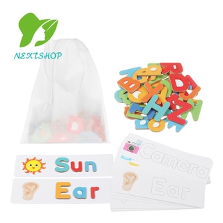 NEXTSHOP Funny Alphabet And Number Preschool Wooden Jigsaw Puzzle Flash Card Game Family Education 3+Years Old Kids Toddlers Educational Toys Set