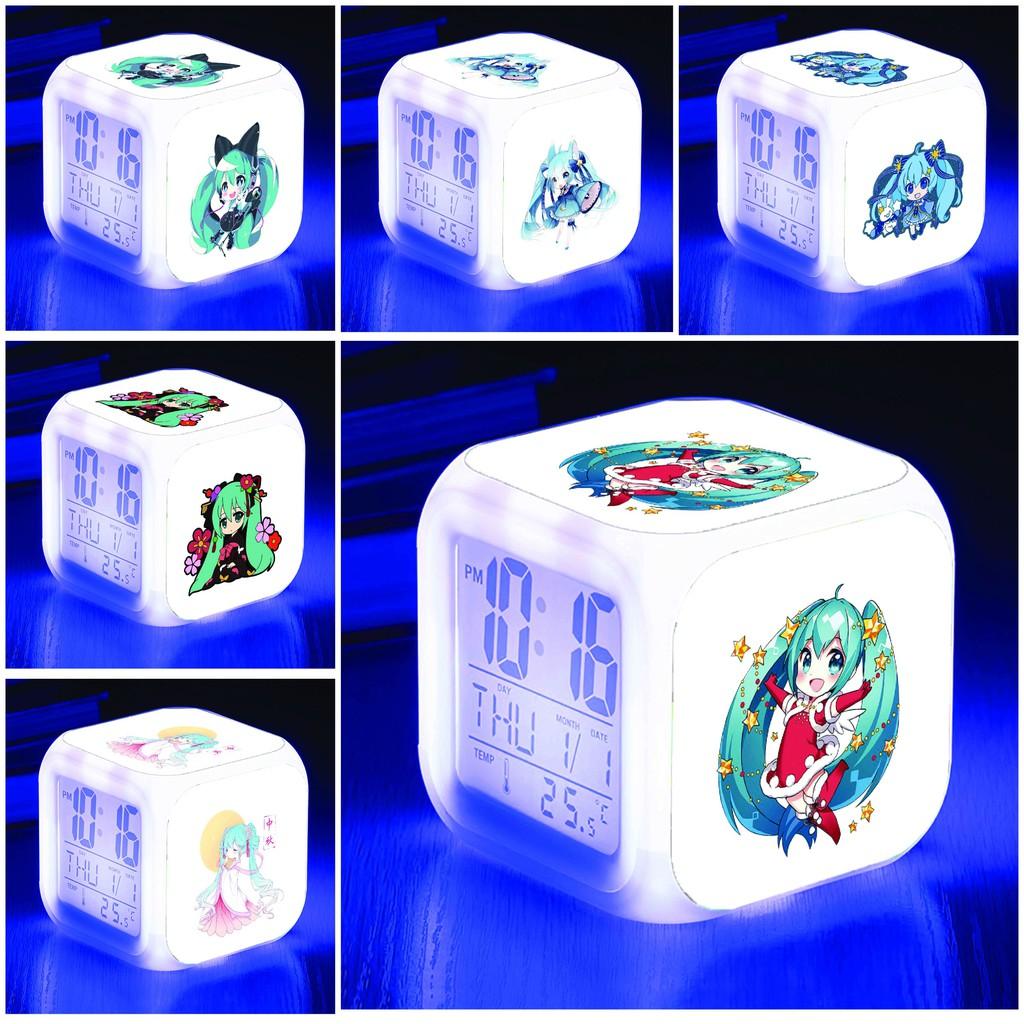 Đồng hồ báo thức để bàn in hình HATSUNE MIKU Vocaloid anime chibi LED đổi màu