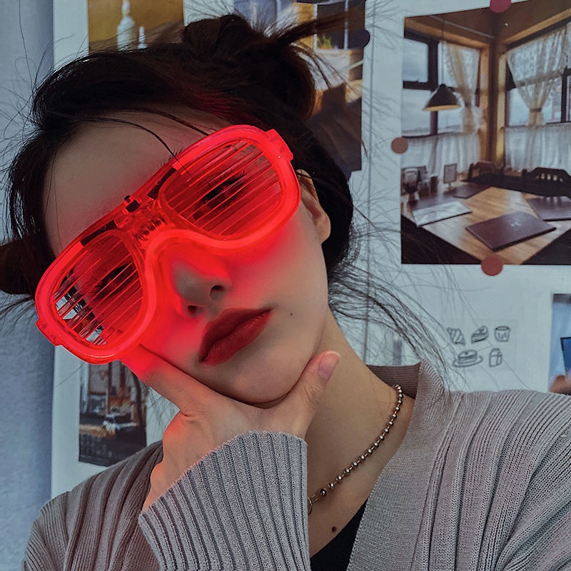 Love Glasses Christmas and New Year's Day Party Trembles Disco Explosions Luminous Blinds LED Bar KTV Net Red Flash