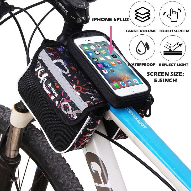 5.5inch 2.5L khối lượng lớn xe đạp leo núi cực treo túi đôi ngoài trời màn hình xe đạp cảm ứng giữ túi điện thoại