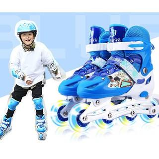 Giày patin trẻ em, người lớn bánh có đèn flash sports, tặng kèm bảo hộ tay và đầu gối