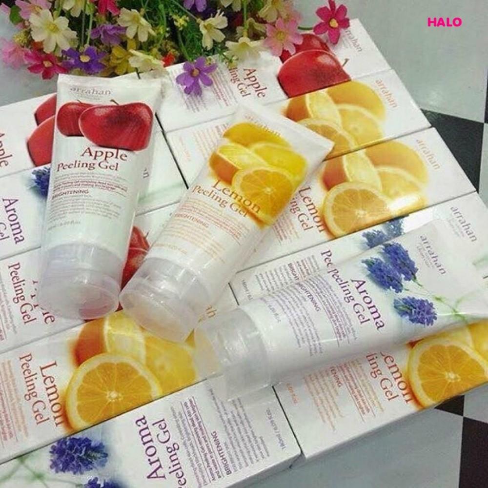 Kem Tẩy Tế Bào da chết vị hoa quả táo chanh hoa oải hương than hoạt tính đông y la hán Arrahan lemon White Peeling Gel