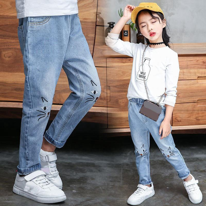 💕 My Baby 💕 Girls Cartoon Cat Pattern Pants Denim Jeans