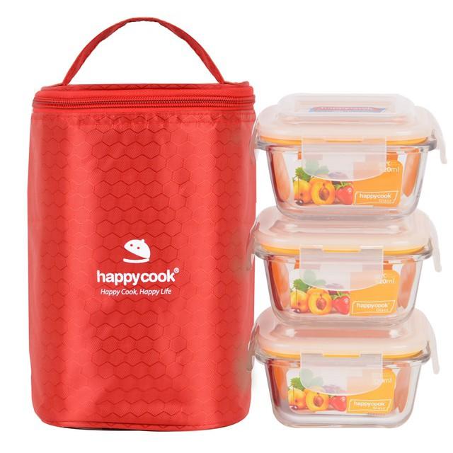 Bộ 3 Hộp Thủy Tinh Happy Cook HCG-03S1 Vuông 320ml Kèm Túi Giữ Nhiệt Glass