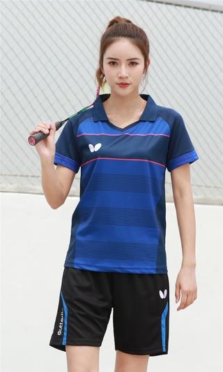 2021 New Arrival Yonexs Badminton Clothes Breathable Quick-Dry Stripe Jersey Shirts+Shorts woman Sets Couple Sets red bule