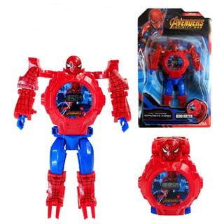 Đồng hồ biến hình robot, lắp ráp siêu anh hùng cho các bé: siêu nhân nhện, người sắt , đội trưởng mĩ , người dơi.