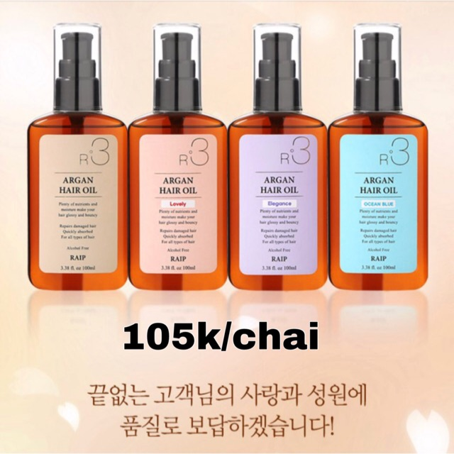 [Có bill] Dầu dưỡng tóc Argan oil Raip R3