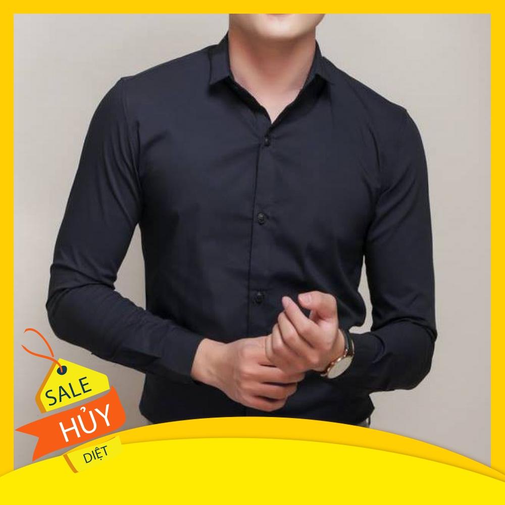 [Mã 1510FASHIONSALE hoàn 10% xu đơn 99K] Áo sơmi nam dài tay áo sơ mi nam vải lụa nến không nhăn thời trang cao cấp