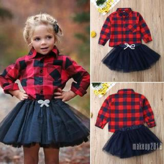 Mu♫-Toddler Kids Baby Girls Clothes Long Sleeve Plaid Shirt+Tulle Skirt Outfits Set