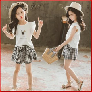 BV30⚡Size110-160 (15-40kg)⚡Bộ áo thun 100%cotton+quần bé gái⚡Thời trang trẻ Em hàng quảng châu freeship