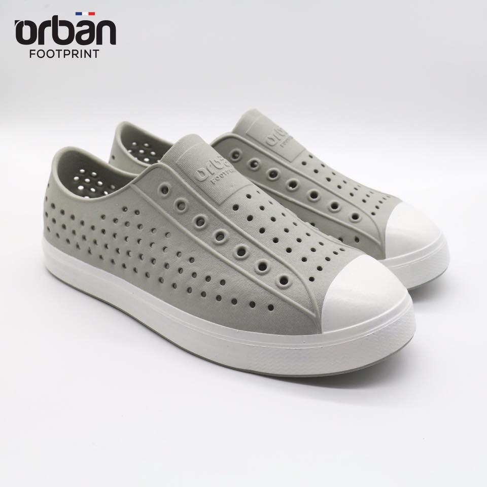 Giày nhựa urban, giày đi mưa - đi biển - siêu nhẹ bền đẹp màu ghi đế trắng