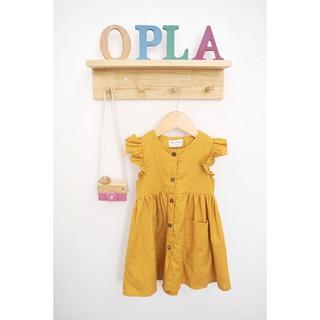 [🧵VIDEO RÕ VẢI THẬT] ĐẦM LINEN thiết kế màu vàng tay cánh tiên có túi cho bé gái